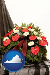 virginia a funeral flower wreath