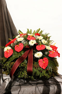 a funeral flower wreath